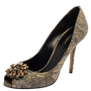 Dolce & Gabbana Grey Floral Print Brocade Fabric Bellucci Crystal Embellished Peep Toe Pumps Size 40