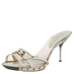 Dolce and Gabbana White Leather Logo Buckle Detail Sandals Size 41