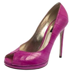 Dolce & Gabbana Pink Eel Leather Peep Toe Pumps Size 39.5