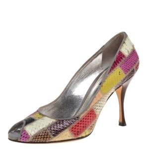 Dolce & Gabbana Multicolor Python Patchwork Peep Toe Pumps Size 39