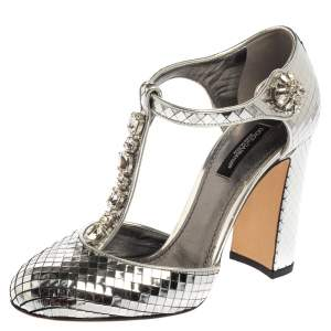 Dolce & Gabbana Metallic Silver Textured Leather Embellished T Strap Pumps Size 36.5