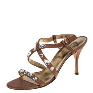 Dolce and Gabbana Brown Leather Embellished Sandals Size 40
