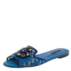 Dolce & Gabbana Blue Lace Crystal Embellished Flat Slides Size 38