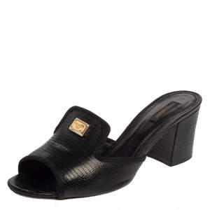 Dolce & Gabbana Black Leather Iguana Slide Sandals Size 41