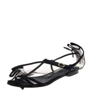 Dolce & Gabbana Black Satin And Mesh Flat Sandals Size 37.5