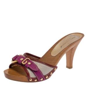 Dolce & Gabbana Multicolor Leather Buckle Detail Wooden Platform Slide Sandals Size 36