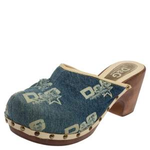 Dolce & Gabbana Blue Denim Fabric Slide Clogs Size 39