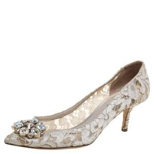 Dolce & Gabbana White Taormina Lace Crystal Embellished Pumps Size 38.5