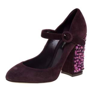 Dolce & Gabbana Burgundy Suede Mary Jane Embellished Heel Pumps Size 36