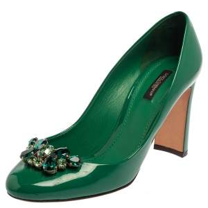 Dolce & Gabbana Green Patent Leather Crystal-Embellished Pumps Size 40