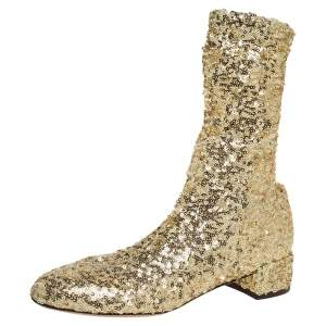 Dolce and Gabbana Gold Sequin Ankle Boots Size 36
