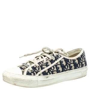 Dior Navy Blue Oblique Cotton Walk'n'Dior Low Top Sneakers Size 40.5