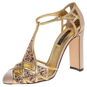 Dolce & Gabbana Metallic Gold Leather and Satin Crystal Embellished Sandals Size 37