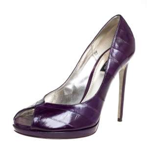 Dolce & Gabbana Purple Eel Leather Peep Toe Pumps Size 39.5