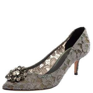 Dolce & Gabbana Pale Purple Lace Bellucci Crystal Embellished Pointed Toe Pumps Size 41
