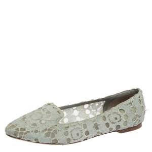 Dolce & Gabbana Light Blue Lace Smoking Slippers Size 41