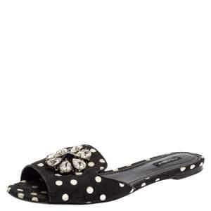 Dolce & Gabbana Black/White Polka Dot Fabric Crystal Embellished Bianca Flat Slides Size 41