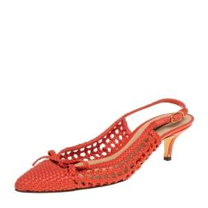 Dolce & Gabbana Orange Woven Leather Bow Slingback Sandals Size 40