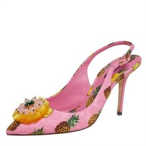 Dolce & Gabbana Pink Pineapple Print Fabric Embellished Slingback Sandals Size 40.5
