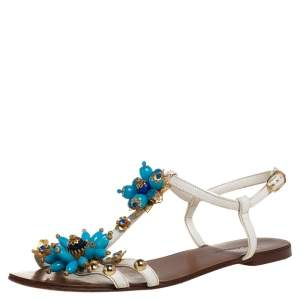 Dolce & Gabbana White Leather Flower Embellished Sandals Size 41