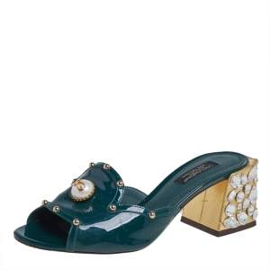 Dolce & Gabbana Green Patent Leather Embellished Slide Sandals Size 36