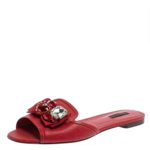 حذاء سلايدز دولتشى أند غابانا فلات مزخرف كريستال جلد نقش سحلية أحمر مقاس 39.5