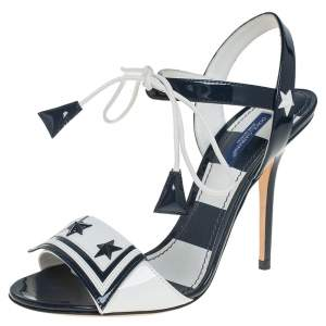 Dolce & Gabbana Navy Blue/White Patent Leather Sailor Sandals Size 37