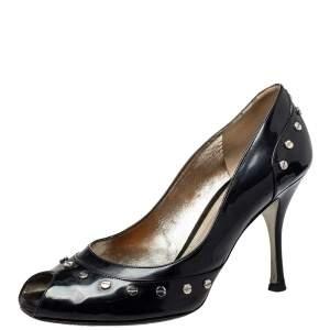 حذاء كعب عالى دولتشى أند غابانا ترصيعات جلد لامع أسود مقاس 39.5
