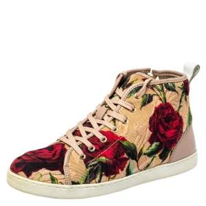 Dolce & Gabbana Multicolor Floral Print Fabric And Leather Mid Top Sneakers Size 35