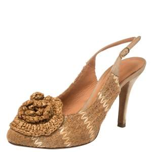 Dolce & Gabbana Tan And Beige Leather And Raffia Flower Slingback Sandals Size 37