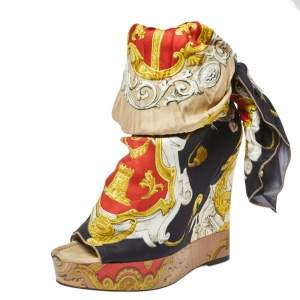 Dolce & Gabbana Multicolor Scarf Open Toe Ankle Wrap Wedge Pumps Size 40