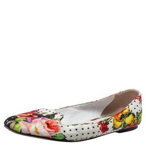 Dolce and Gabbana White Floral Print Fabric Loafers Size 40