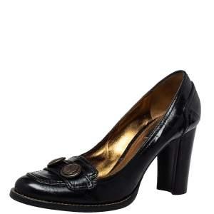 Dolce & Gabbana Black Leather Slip On Loafer Pumps Size 38.5