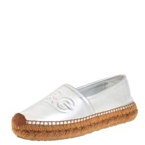 Dolce & Gabbana Silver Leather Slip On Flat Espadrilles Size 39