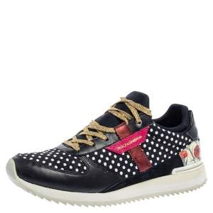 Dolce & Gabbana Multicolor Leather, Fabric And Suede Polka Dot Sneakers Size 37.5