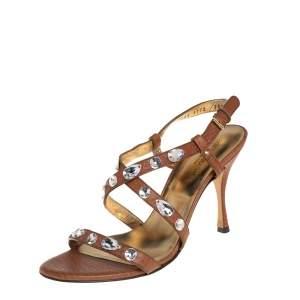 Dolce & Gabbana Brown Leather Crystal Embellished Sandals Size 38.5