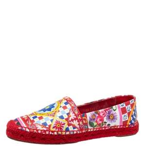 Dolce & Gabbana Multicolor Printed Leather Espadrilles Size 39
