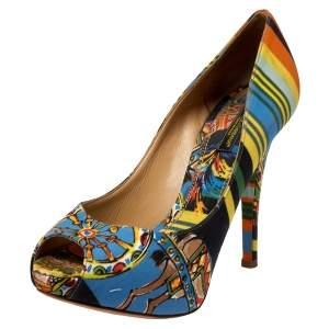 Dolce & Gabbana Multicolor Printed Satin Peep Toe Platform Pumps Size 37