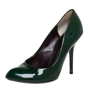 Dolce & Gabbana Green Patent Leather Almond Toe Pumps Size 37.5