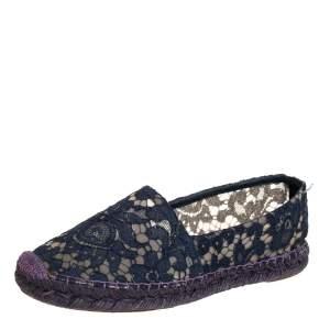 Dolce & Gabbana Blue Floral Lace Espadrille Flats Size 38