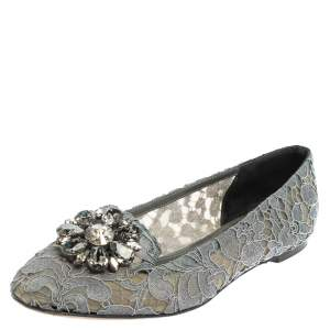 Dolce & Gabbana Grey Lace Crystal Embellished Taormina Ballet Flats Size 39.5
