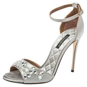 Dolce & Gabbana Grey Satin Ankle Strap Sandals Size 35