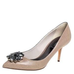 Dolce & Gabbana Beige Lizard Embossed Leather Bellucci Crystal Embellished Pumps Size 39