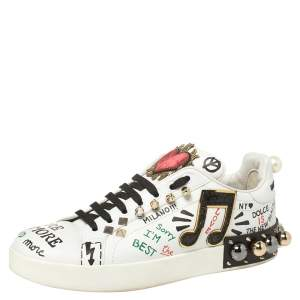 Dolce & Gabbana White Leather Portofino With Patch and Embroidery Low Top Sneakers Size 39