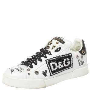 Dolce & Gabbana Black/White Leather Portofino With Patch And Embroidery Low Top Sneakers Size 39