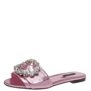Dolce & Gabbana Metallic Pink Leather Embellished Flat Slides Size 38