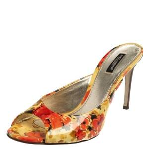 Dolce & Gabbana Multicolor Floral Print Patent Leather Slide Sandals Size 40.5