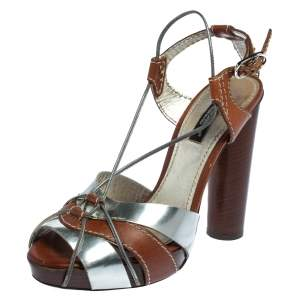 Dolce & Gabbana Silver/Brown Leather Platform Ankle Strap Sandals Size 36
