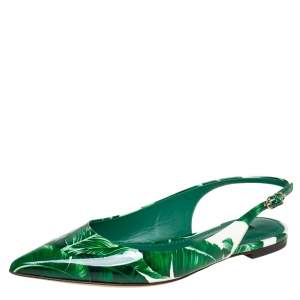 Dolce & Gabbana Green/White Banana Leaf-Print Patent Leather Slingback Flats Size 37