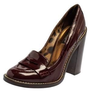 Dolce & Gabbana Burgundy Patent Leather Loafer Pumps Size 40
